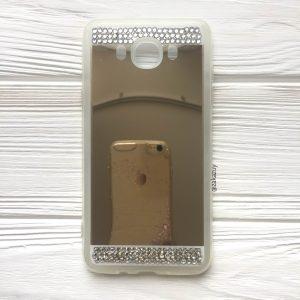 Золотой силиконовый (TPU+PC) чехол (накладка) с акриловой вставкой и зеркальным покрытием со стразами для Samsung J710 Galaxy J7 (2016) (Gold)