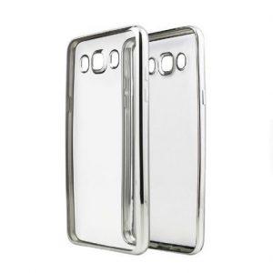 Прозрачный силиконовый (TPU) чехол (накладка) с глянцевым ободкомдля Samsung J710 Galaxy J7 (2016) (Silver)