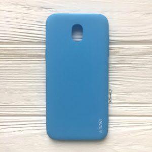 Голубой матовый cиликоновый чехол (накладка) для Samsung J530 Galaxy J5 (2017) (Blue)