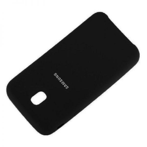 Черный оригинальный матовый силиконовый (TPU) чехол Silicone Cover с микрофиброй для Samsung J730 Galaxy J7 (2017) (Black)