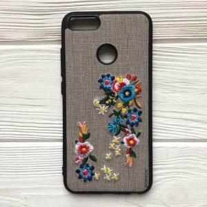 """Серый силиконовый (TPU+PC) чехол (накладка) """"Вышиванка"""" с цветами для Xiaomi Redmi Mi 5x / Mi A1"""