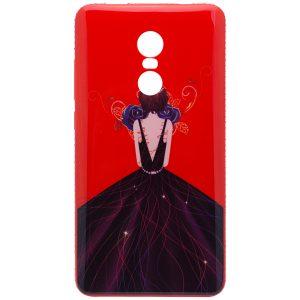 Красный силиконовый (TPU+PC) чехол (накладка) Magic Girl c синими цветами и стразами для Xiaomi Redmi Note 4x / Note 4 (Snapdragon)