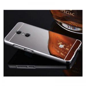 Алюминиевый зеркальный чехол с аркиловой вставкой  для Xiaomi Redmi Note 4x / Note 4 Snapdragon (Silver)