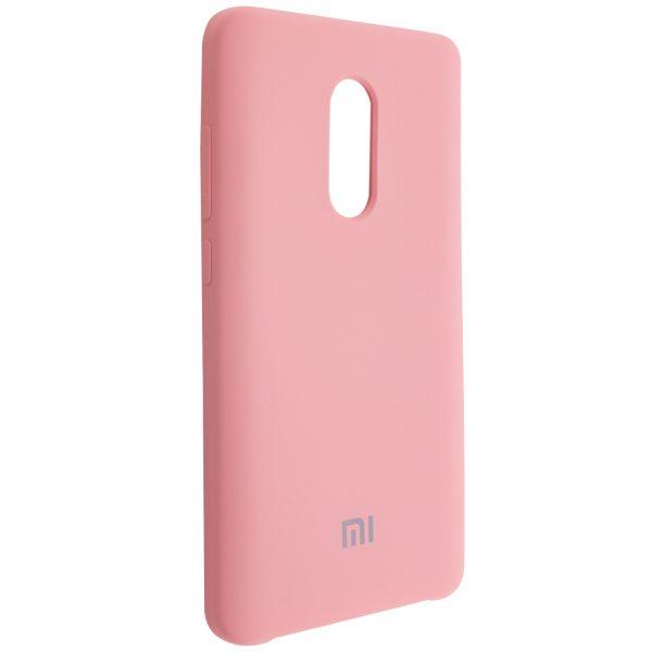 Розовый оригинальный матовый силиконовый (TPU) чехол Silicone Cover с микрофиброй для Xiaomi Redmi Note 4x / Note 4 (Snapdragon) (Pink)
