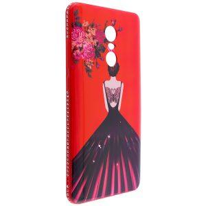 Красный силиконовый (TPU+PC) чехол (накладка) Magic Girl c бабочкой и стразами для Xiaomi Redmi Note 4x / Note 4 (Snapdragon)