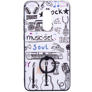 """Белый тематический чехол с кольцом и принтом """"Музыка"""" для Xiaomi Redmi Note 4x / Note 4 (Snapdragon) (White Music)"""