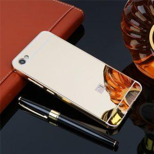Золотой металический чехол (бампер) с акриловой вставкой с зеркальным покрытием для Xiaomi Redmi Note 5A / Y1 Lite (Gold)