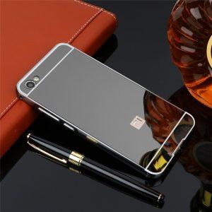 Серый металический чехол (бампер) с акриловой вставкой с зеркальным покрытием для Xiaomi Redmi Note 5A / Y1 Lite (Grey)