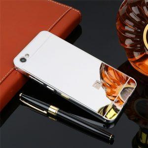 Серебряный металический чехол (бампер) с акриловой вставкой с зеркальным покрытием для Xiaomi Redmi Note 5A / Y1 Lite (Silver)