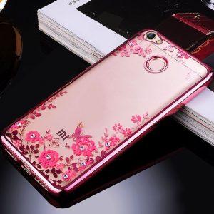 Прозрачный силиконовый (TPU) чехол (накладка) с цветами и стразами с розовым глянцевым ободком для Xiaomi Redmi Note 5A Prime / Y1
