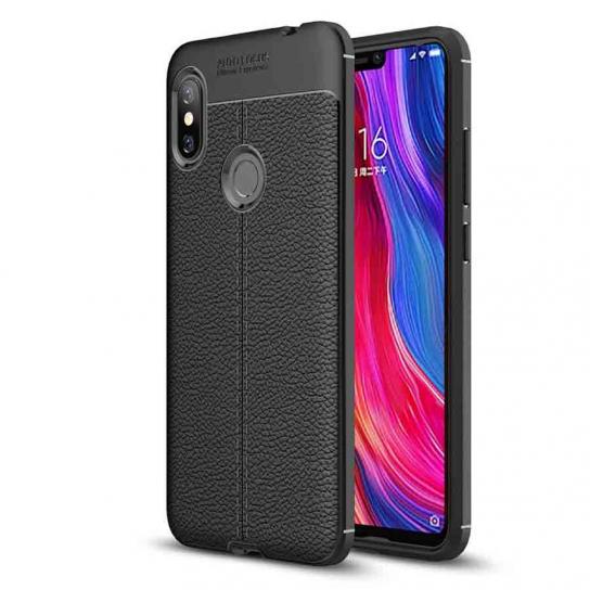 TPU чехол фактурный (с имитацией кожи) для Xiaomi Redmi Note 6 / 6 Pro – Черный