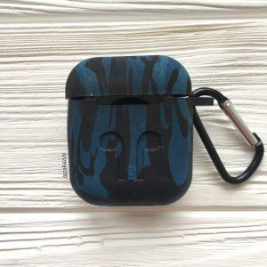 Камуфляжный силиконовый чехол для Apple Airpods (Blue)