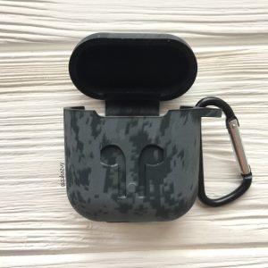 Камуфляжный (мелкий узор) силиконовый чехол для Apple Airpods (Grey)