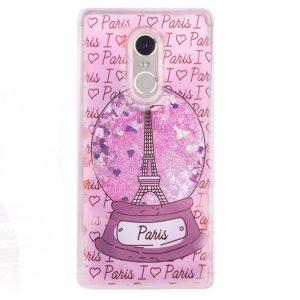 """Розовый силиконовый (TPU) чехол с переливнымы блестками """"Paris"""" для Xiaomi Redmi 5"""