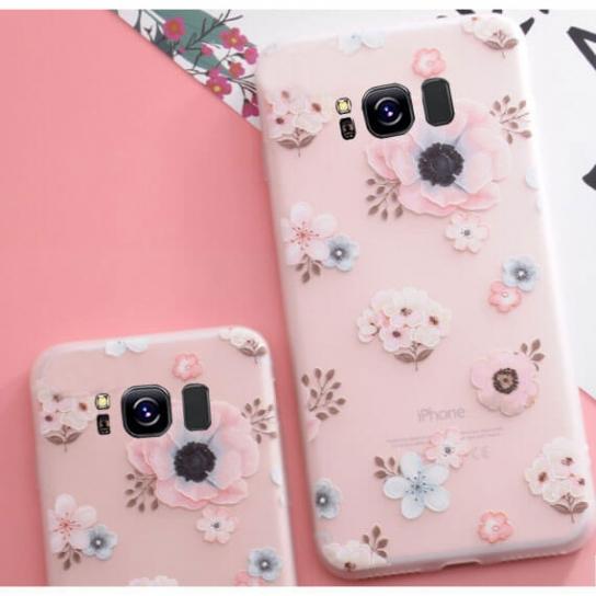 Матовый силиконовый (TPU) чехол (накладка) Soft Touch с цветами для Samsung G950 Galaxy S8