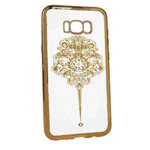 Прозрачный силиконовый (TPU) чехол (накладка) с глянцевым зототым ободком с узором и стразами для Samsung G955 Galaxy S8 Plus (Gold)