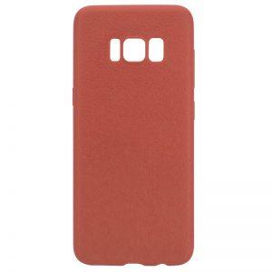 Силиконовый (TPU) чехол (накладка) с имитацией кожи для Samsung G955 Galaxy S8 Plus (Brown)