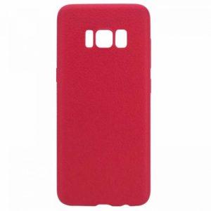 Силиконовый (TPU) чехол (накладка) с имитацией кожи для Samsung G955 Galaxy S8 Plus (Red)