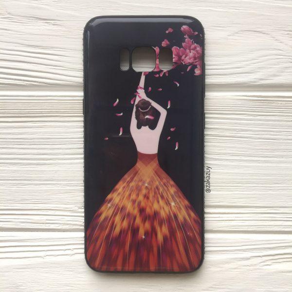 Черный силиконовый (TPU+PC) чехол (накладка) Magic Girl «Лепестки» со стразами для Samsung G950 Galaxy S8