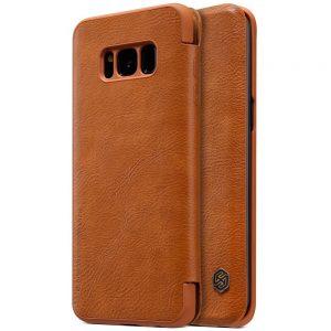 Коричневый кожаный чехол-книжка Nillkin Qin Series для Samsung G950 Galaxy S8 (Brown)