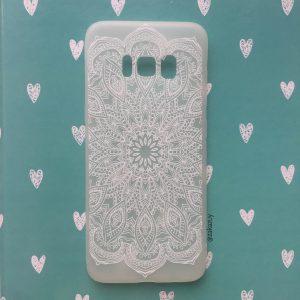 Матовый силиконовый (TPU) чехол (накладка) Soft Touch с белым узором для Samsung G950 Galaxy S8