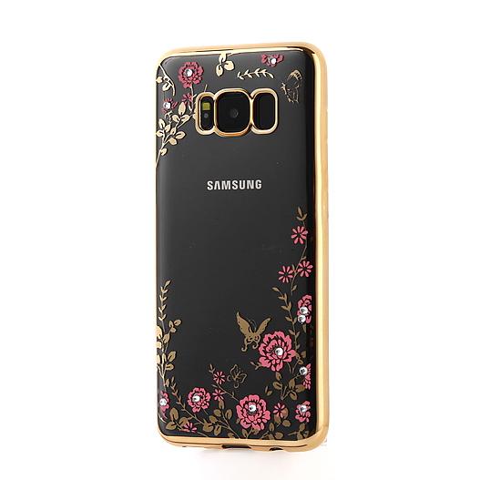 Прозрачный силиконовый (TPU) чехол (накладка) с цветами и стразами с золотым глянцевым ободком для Samsung G950 Galaxy S8