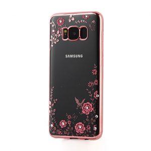 Прозрачный силиконовый (TPU) чехол (накладка) с цветами и стразами с розовым глянцевым ободком для Samsung G955 Galaxy S8 Plus (Pink)