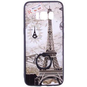 Тематический чехол с кольцом и принтом с Парижем для Samsung G955 Galaxy S8 Plus (Paris)