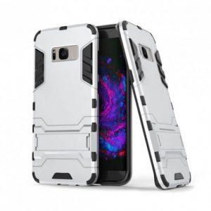 Ударопрочный чехол Transformer с подставкой для Samsung G955 Galaxy S8 Plus (Silver)