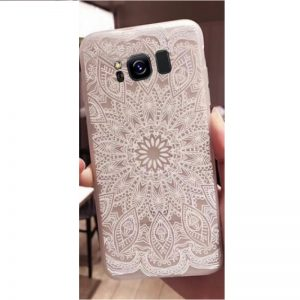 Матовый силиконовый (TPU) чехол (накладка) Soft Touch с белым узором для Samsung G955 Galaxy S8 Plus