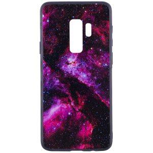 Розовый (TPU+Glass) чехол (накладка) Космос для Samsung G965 Galaxy S9 Plus (Pink)