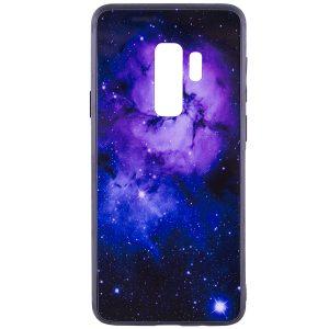 Фиолетовый (TPU+Glass) чехол (накладка) Космос для Samsung G965 Galaxy S9 Plus (Purple)