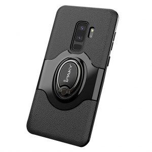 Черный (TPU+PC) чехол (бампер) Ipaky Feather с кольцом и креплением под магнитный держатель для Samsung G965 Galaxy S9 Plus (Black)