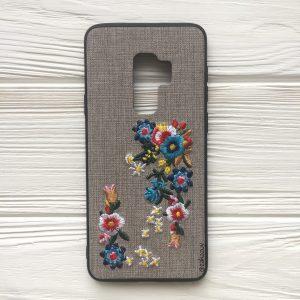 """Серый силиконовый (TPU+PC) чехол (накладка) """"Вышиванка"""" с цветами для Samsung G965 Galaxy S9 Plus"""