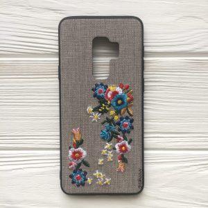 """Силиконовый (TPU+PC) чехол (накладка) """"Вышиванка"""" с цветами для Samsung G965 Galaxy S9 Plus – Серый"""