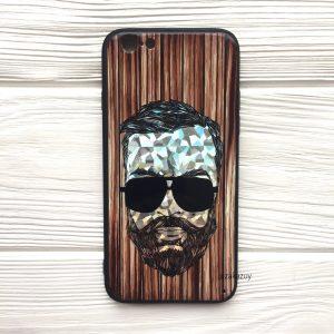 Чехол BARBER в очках (темный) под дерево для Iphone 7 / 8 / SE (2020)
