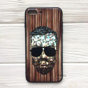 Чехол BARBER в очках (темный) под дерево для Iphone 7 Plus / 8 Plus