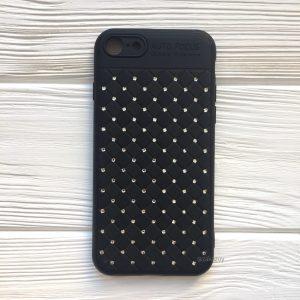 Силиконовый плетеный (TPU+PC) чехол со стразами Diamond для Iphone 7 / 8 / SE (2020) – Black