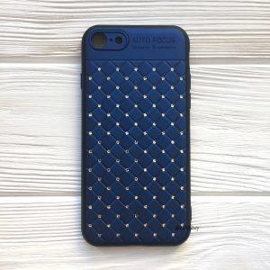 Синий силиконовый плетеный (TPU+PC) чехол со стразами Diamond для Iphone 7 / 8 (Blue)