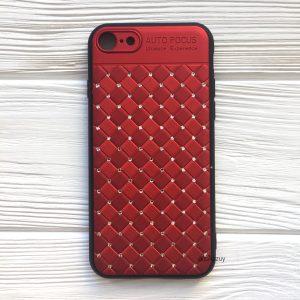 Красный силиконовый плетеный (TPU+PC) чехол со стразами Diamond для Iphone 7 Plus / 8 Plus (Red)