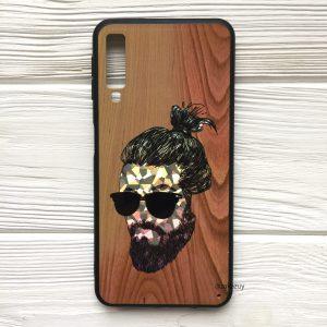 Чехол BARBER под дерево для Samsung A750 Galaxy A7 (2018) – в очках (светлый)