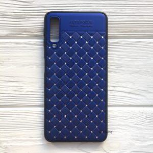Синий силиконовый плетеный (TPU+PC) чехол со стразами Diamond для Samsung A750 Galaxy A7 2018 (Blue)