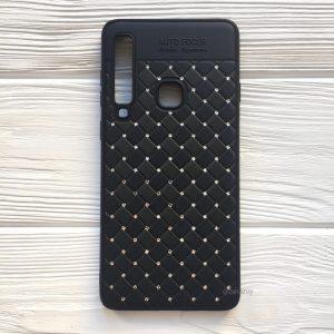 Силиконовый плетеный (TPU+РС) чехол со стразами Diamond для Samsung Galaxy A9 2018 (A920) – Черный