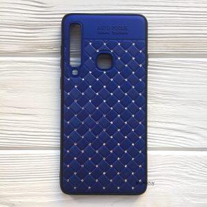 Синий силиконовый плетеный (TPU+PC) чехол со стразами Diamond для Samsung A920 Galaxy A9 2018 (Blue)