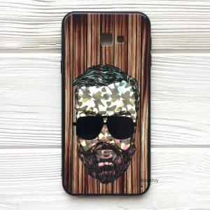 Чехол BARBER в очках (темный) под дерево для Samsung J415 Galaxy J4 Plus (2018)