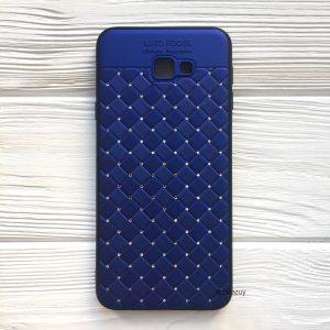 Cиний силиконовый плетеный (TPU+PC) чехол со стразами Diamond для Samsung J415 Galaxy J4 Plus 2018 (Blue)
