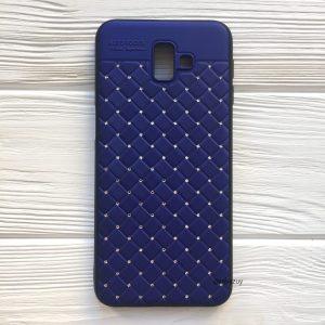 Cиликоновый плетеный TPU+PC чехол со стразами Diamond для Samsung Galaxy J6 Plus 2018 (J610) (Blue)