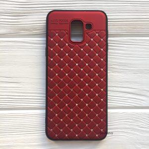 Красный силиконовый плетеный (TPU+PC) чехол со стразами Diamond для Samsung J600 Galaxy J6 2018 (Red)
