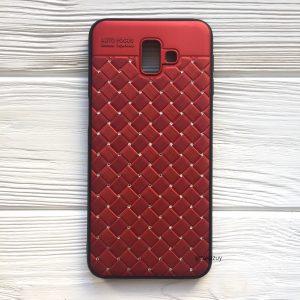 Красный силиконовый плетеный (TPU+PC) чехол со стразами Diamond для Samsung J610 Galaxy J6 Plus 2018 (Red)