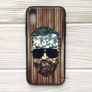 Чехол BARBER в очках (темный) под дерево для Iphone X / XS